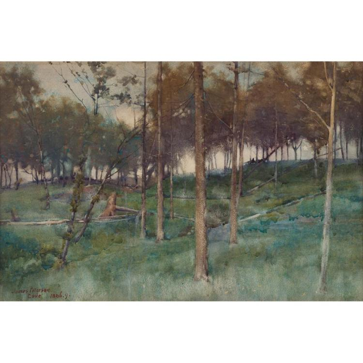 JAMES PATERSON P.R.S.W., R.S.A., R.W.S. (SCOTTISH 1854-1932) PINEWOOD - COVE 35.5cm x 53.5cm (14in x 21in)