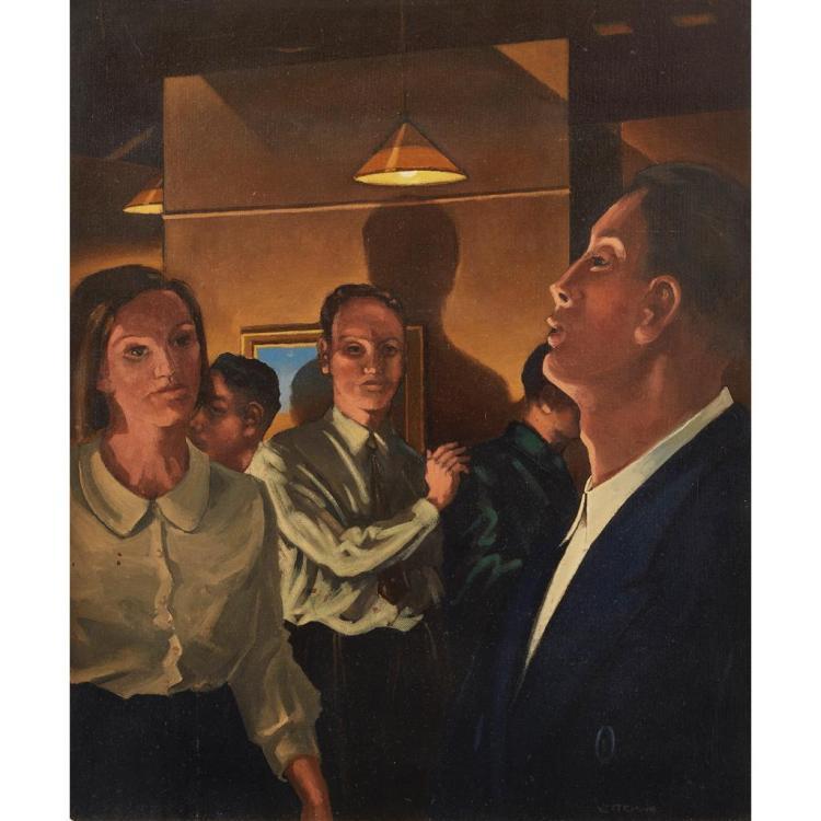 [§] JACK VETTRIANO (SCOTTISH B.1951) THE DRAMA GROUP 61cm x 51cm (24in x 20in)