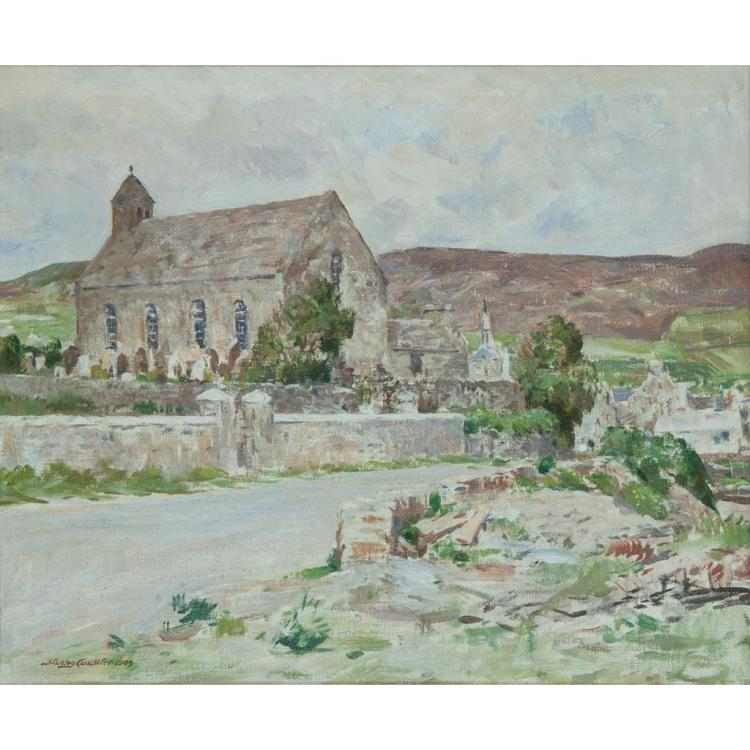[§] STANLEY CURSITER C.B.E., R.S.A., R.S.W. (SCOTTISH 1887-1976) FINSTOWN OLD CHURCH 51cm x 61cm (20in x 24in)