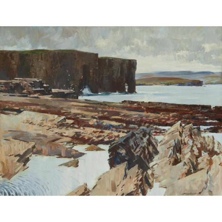 [§] STANLEY CURSITER C.B.E., R.S.A., R.S.W. (SCOTTISH 1887-1976) THE CLIFFS AT ROUSAY 71cm x 91cm (28in x 36in)