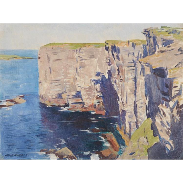 [§] STANLEY CURSITER C.B.E., R.S.A., R.S.W. (SCOTTISH 1887-1976) CLIFFS, ORKNEY 31cm x 41cm (12in x 16in)