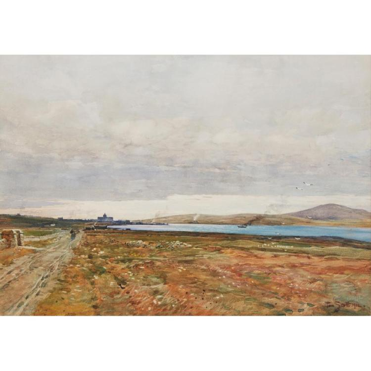 TOM SCOTT (SCOTTISH 1854-1927) KIRKWALL FROM THE NORTH-EAST 36cm x 51cm (14in x 20in)