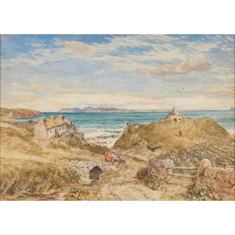 SAM BOUGH R.S.A. (SCOTTISH 1822-1878) BISHOP''S CASTLE, SCRABSTER 26cm x 36.5cm (10.25in x 14in)