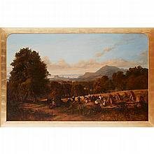 ARTHUR PERIGAL R.S.A., R.S.W. (SCOTTISH 1816-1884) HARVEST-TIME IN THE GROUNDS OF SUNNYSIDE HOUSE 76cm x 122cm (30in x 48in)