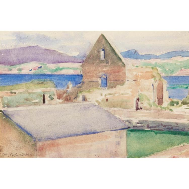 FRANCIS CAMPBELL BOILEAU CADELL R.S.A., R.S.W. (SCOTTISH 1883-1937) THE NUNNERY, IONA 16cm x 24cm (6.25in x 9.5in)