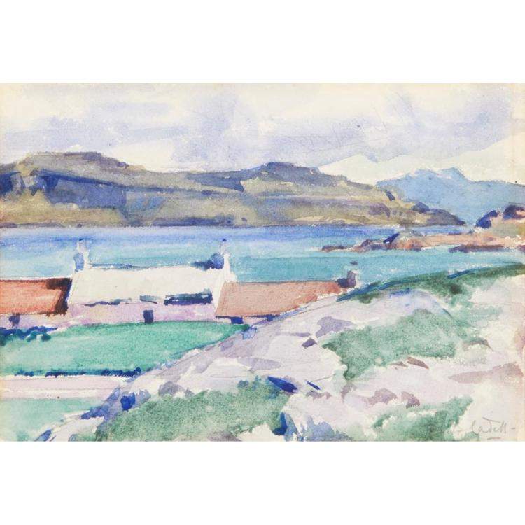 FRANCIS CAMPBELL BOILEAU CADELL R.S.A., R.S.W. (SCOTTISH 1883-1937) ARDIONRA CROFT, IONA 17cm x 25cm (6.75in x 9.75in)