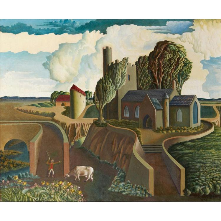 GEORGE H.B. WRIGHT (SCOTTISH FL.1936-1940) A HILLTOP CHURCH 51cm x 61cm (20in x 24in)