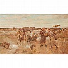 ROBERT MCGREGOR R.S.A. (SCOTTISH 1847-1922) GATHERING MUSSELS 61cm x 101.5cm (24in x 40in)