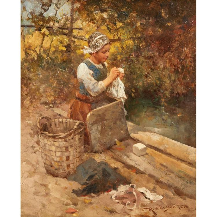 ROBERT MCGREGOR R.S.A. (SCOTTISH 1847-1922) A DUTCH WASHER GIRL 28cm x 23cm (11in x 9in)