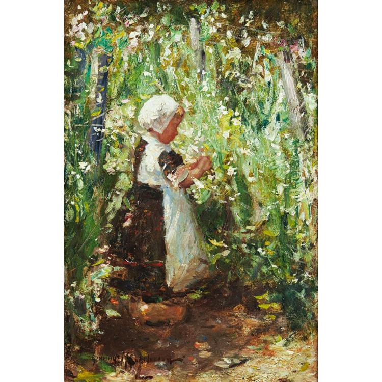 ROBERT GEMMELL HUTCHISON R.B.A., R.O.I., R.S.A., R.S.W. (SCOTTISH 1860-1930) A GIRL IN A GARDEN 30.5cm x 20.5cm (12in x 8in)