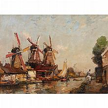 JAMES CAMPBELL NOBLE R.S.A. (SCOTTISH 1846-1913) WINDMILLS ON A RIVER 30.5cm x 40.5cm (12in x 16in)