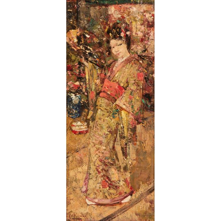 EDWARD ATKINSON HORNEL (SCOTTISH 1864-1933) GEISHA 56cm x 23cm (22in x 9in)