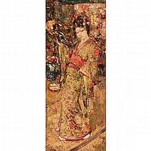 EDWARD ATKINSON HORNEL (SCOTTISH 1864-1933) GEISHA 56cm x 23cm (22in x 9in)