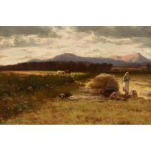 DAVID FARQUHARSON A.R.A., A.R.S.A., R.S.W., R.O.I. (SCOTTISH 1846-1907) A SUMMER''S DAY IN GALLOWAY 30.5cm x 45.5cm (12in x 18in)