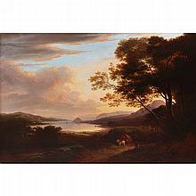 ALEXANDER NASMYTH (SCOTTISH 1758-1840) DUMBARTON ROCK ON THE CLYDE 66cm x 89cm (26in x 35in)