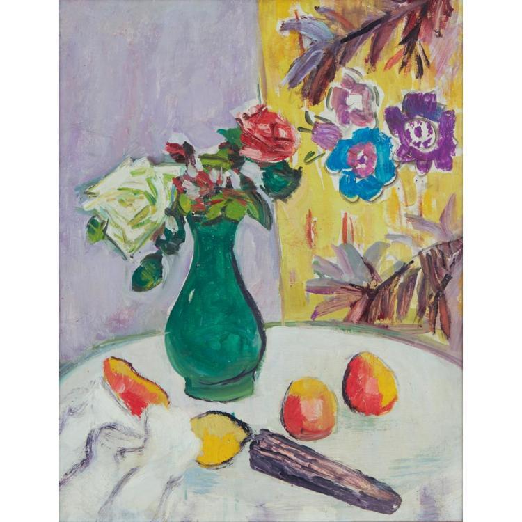 GEORGE LESLIE HUNTER (SCOTTISH 1879-1931) THE GREEN VASE 59cm x 46cm (23.25in x 18in)