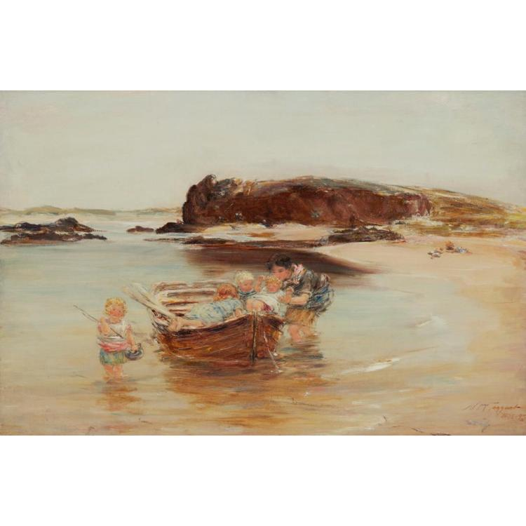 WILLIAM MCTAGGART R.S.A., R.S.W. (SCOTTISH 1835-1910) A SUMMER IDYLL - BAY VOYACH 61cm x 91cm (24in x 36in)
