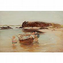 WILLIAM MCTAGGART R.S.A., R.S.W. (SCOTTISH 1835-1910) A SUMMER IDYLL - BAY VOYACH 61cm x 91cm (24in x 36in)