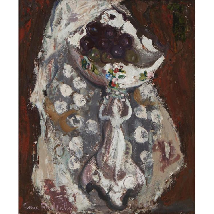 [§] ANNE REDPATH O.B.E., R.S.A., A.R.A., L.L.D., A.R.W.S., R.O.I., R.B.A. (SCOTTISH 1895-1965) STILL LIFE, A COMPORT OF GRAPES 47cm...