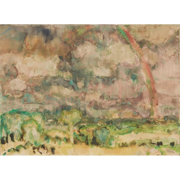 [§] SIR WILLIAM GEORGE GILLIES C.B.E., R.A., R.S.A., P.P.R.S.W., L.L.D. (SCOTTISH 1898-1973) THE RAINBOW 38cm x 38cm (11in x 15in)