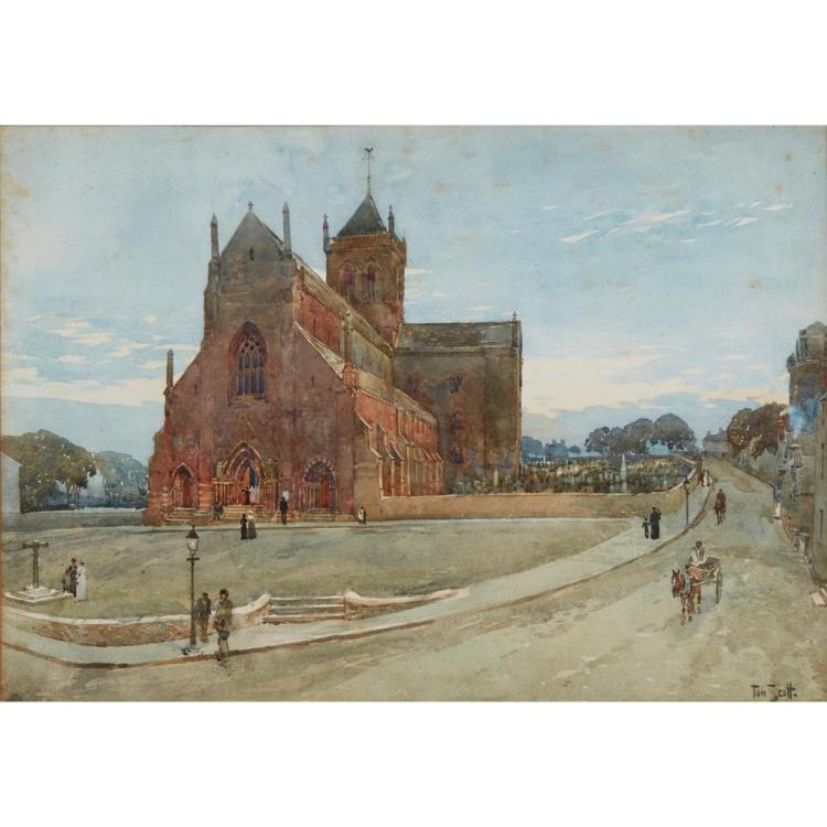 TOM SCOTT R.S.A. (SCOTTISH 1864-1927) ST. MAGNUS CATHEDRAL, KIRKWALL 37cm x 53cm (14.5in x 20.75in)