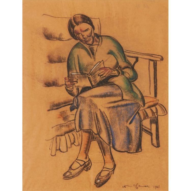 [§] WILLIAM MCCANCE (SCOTTISH 1894-1970) WOMAN READING 45.5cm x 35cm (18in x 14in)