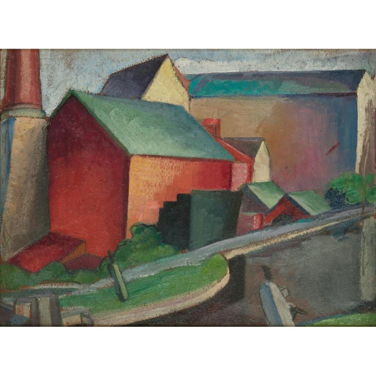 [§] WILLIAM MCCANCE (SCOTTISH 1894-1970) CLOTH MILLS ON THE CHALFORD CANAL 25.5cm x 34.5cm (10in x 13.5in)