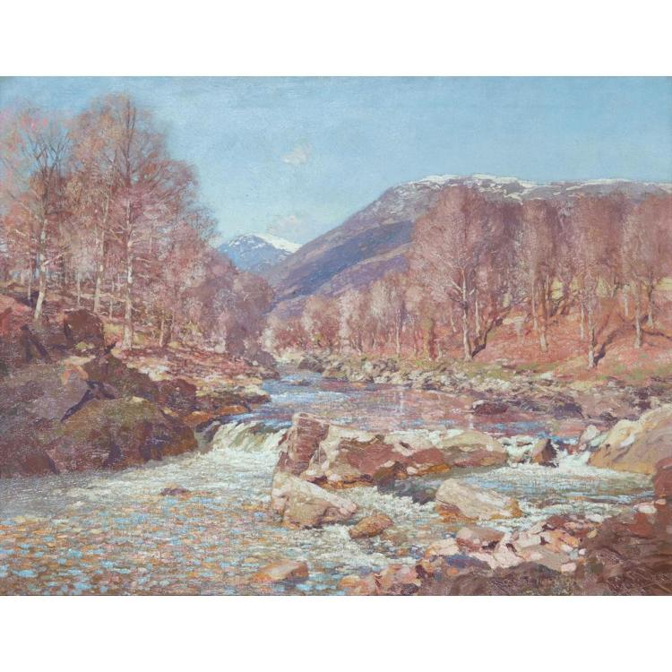 [§] GEORGE HOUSTON R.S.A., R.S.W., R.I. (SCOTTISH 1869-1947) DEPARTING SNOWS - A RIVER LANDSCAPE 71cm x 91cm (28in x 36in)