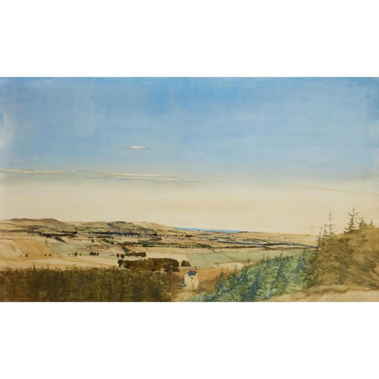 [§] JAMES MORRISON R.S.A., R.S.W., L.L.D. (SCOTTISH B.1932) CLEISH CASTLE LOOKING NORTH-EAST 91cm x 152cm (36in x 60in)