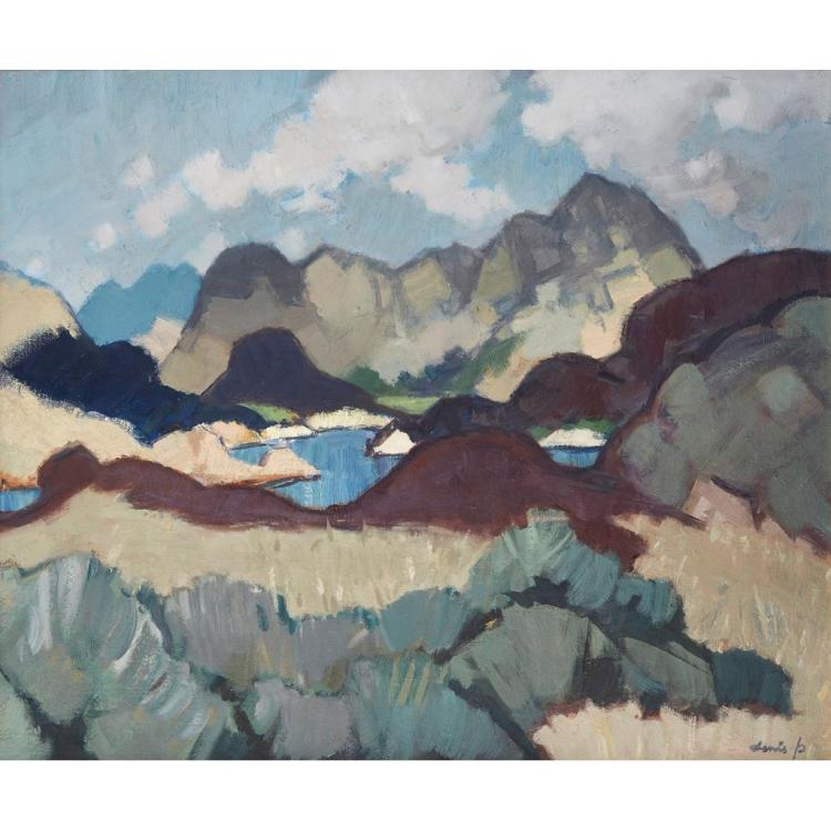 [§] DENIS PEPLOE R.S.A. (SCOTTISH 1914-1993) BEN DAMH 63.5cm x 76cm (25in x 30in)
