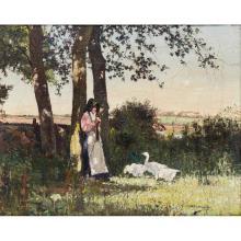 WILLIAM WELLS (SCOTTISH 1872-1923) THE GOOSE-GIRL 41cm x 51cm (16in x 20in)