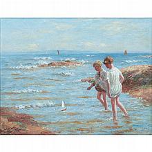 [§] JOHN MCGHIE (SCOTTISH 1867-1952) THE TOY BOAT 36cm x 46cm (14in x 18in)