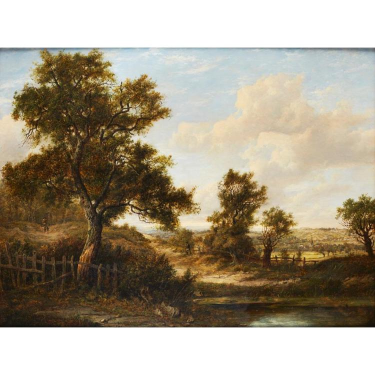 PATRICK NASMYTH (SCOTTISH 1787-1831) FIGURES IN A WOODED RIVER LANDSCAPE 46cm x 61cm (18in x 24in)