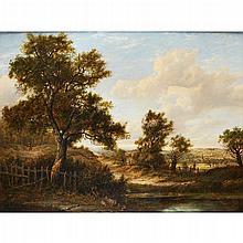 PATRICK NASMYTH (SCOTTISH 1787-1831) FIGURES IN A WOODED RIVER LANDSCAPE 46cm x 61cm (18in x 24in)