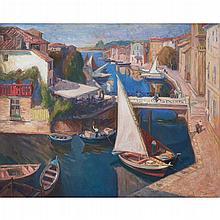 [§] ALEXANDER GRAHAM MUNRO R.S.W. (SCOTTISH 1903-1985) MARTIGUES 101.5cm x 127cm (40in x 50in)