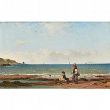 JAMES CASSIE R.S.A., R.S.W. (SCOTTISH 1819-1879) YOUNG FISHERS LUNAN BAY 33cm x 53cm (13in x 20.75in)