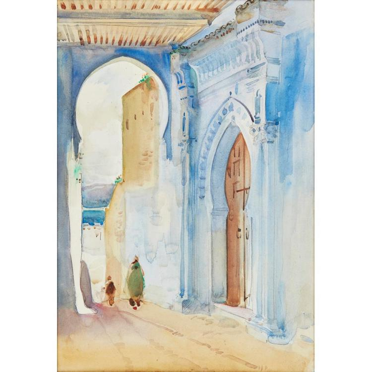 ROBERT BROUGH R.A., A.R.S.A. (SCOTTISH 1872-1905) MOROCCAN STREET SCENE 51cm x 35.5cm (20in x 14in)