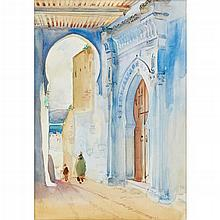 ROBERT BROUGH R.A., A.R.S.A. (SCOTTISH 1872-1905) MOROCCAN STREET SCENE 51cm x 35.5cm (20in x 14in)
