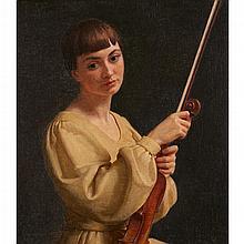 [§] JOHN BULLOCH SOUTER (SCOTTISH 1890-1972) AURELIA 41cm x 35.5cm (16in x 14in)