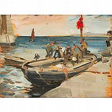 ROBERT BROUGH R.A., A.R.S.A. (SCOTTISH 1872-1905) HARBOUR SCENE 26.5cm x 35.5cm (10.5in x 14in)