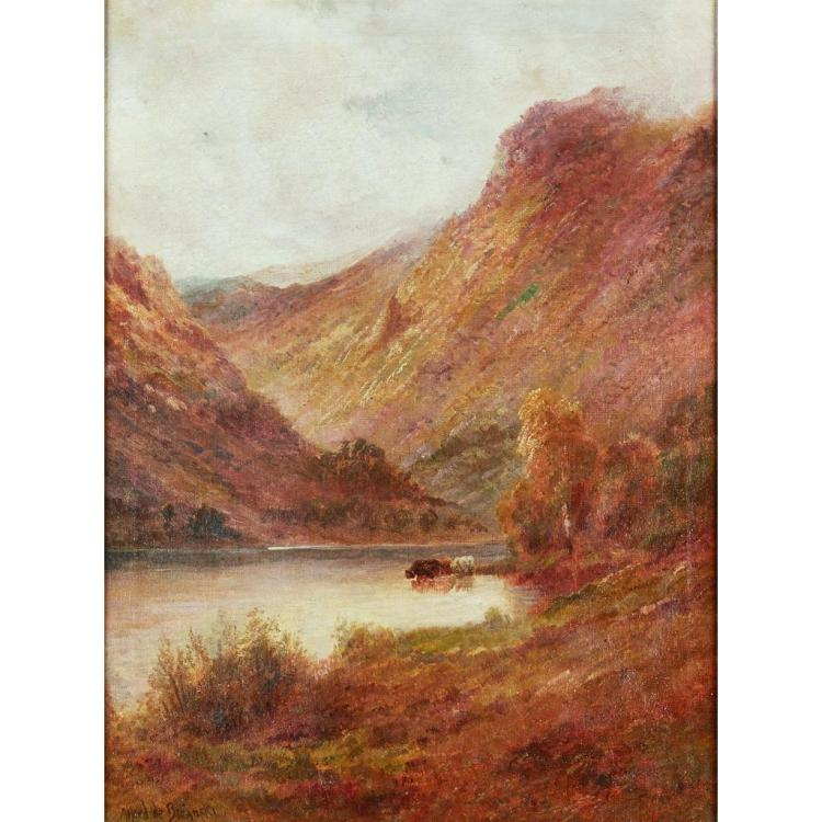ALFRED DE BREANSKI SENIOR (SCOTTISH 1869-1925) THE HEART OF THE TROSSACHS 51cm x 38cm (20in x 15in) and a pair ''The Brander Pass'' (2.