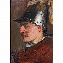 SIR JAMES GUTHRIE P.R.S.A., H.R.A., R.S.W., L.L.D. (SCOTTISH 1859-1930) HEAD OF A SOLDIER 19cm x 13cm (7.5in x 5in)