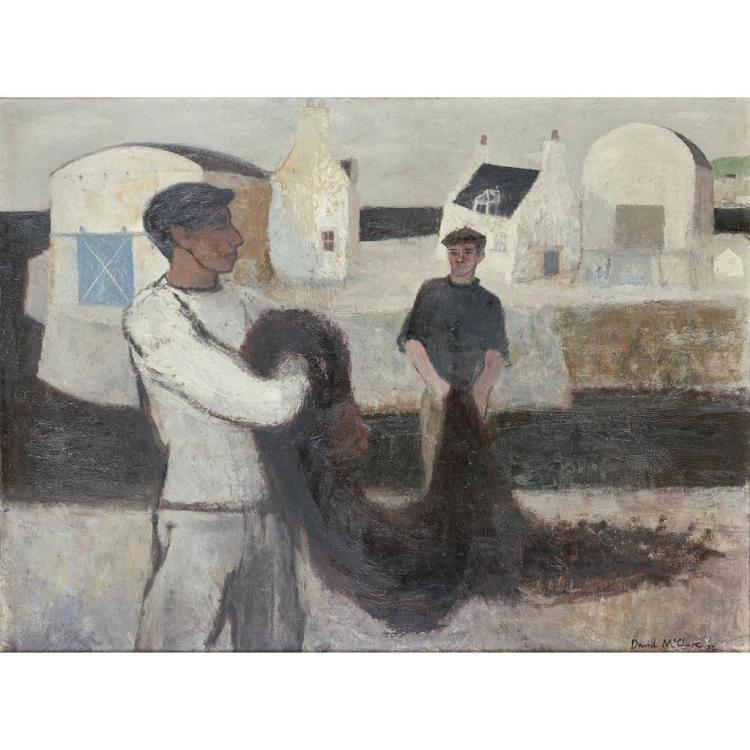 [§] DAVID MCCLURE R.S.A., R.S.W., R.G.I. (SCOTTISH 1926-1998) MEN WITH NETS 84cm x 113cm (33in x 44.5in)