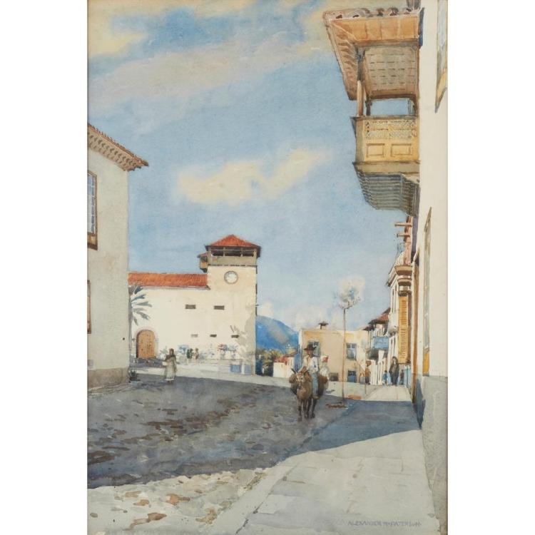 [§] ALEXANDER NISBET PATERSON A.R.S.A., R.S.W. (SCOTTTISH 1862-1947) TENERIFE 53cm x 35.5cm (20.75in x 14in)