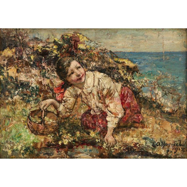 EDWARD ATKINSON HORNEL ( SCOTTISH 1864-1933) A RARE POSY 25.5cm x 36cm (10in x 14in)