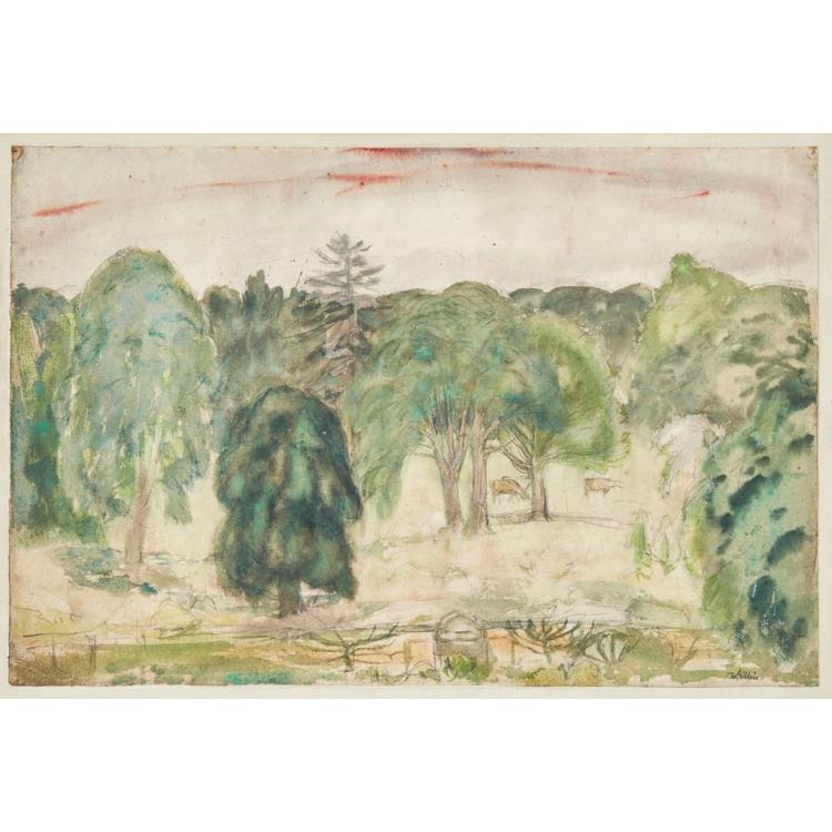 [§] SIR WILLIAM GEORGE GILLIES C.B.E., R.A., R.S.A., P.P.R.S.W., L.L.D. (SCOTTISH 1898-1973) ARNISTON PARK 34cm x 51cm (13.5in x 20i...