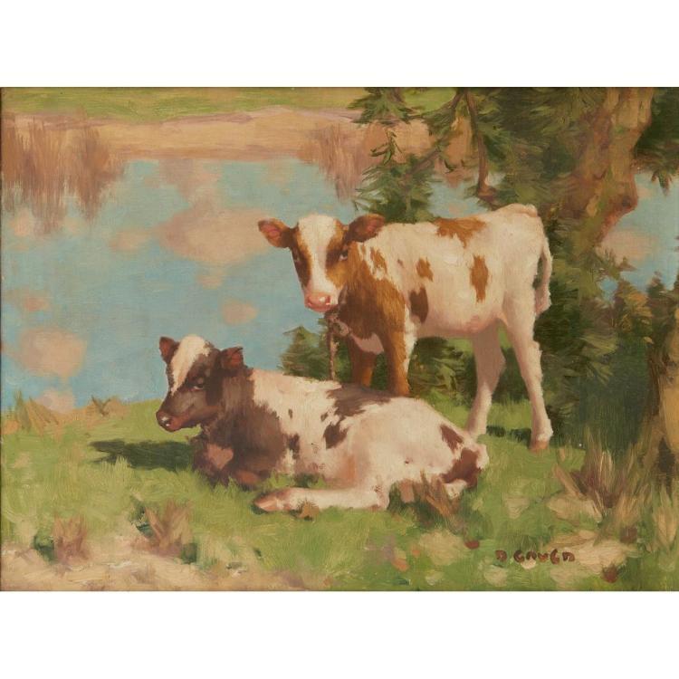 DAVID GAULD R.S.A. (SCOTTISH 1865-1936) CALVES IN A FIELD 46cm x 61cm (18in x 24in)
