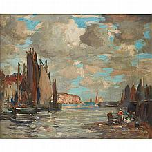 JAMES WHITELAW HAMILTON R.S.A., R.S.W. (SCOTTISH 1860-1932) VIEW OF A SCOTTISH HARBOUR 51cm x 61cm (20in x 24in)