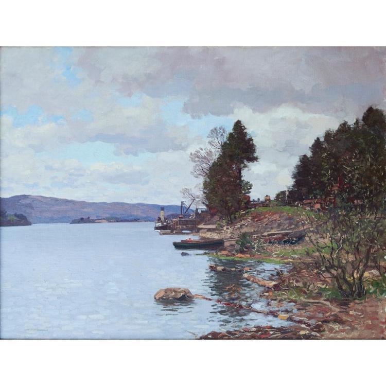 [§] GEORGE HOUSTON R.S.A., R.S.W., R.G.I. (SCOTTISH 1869-1947) THE FERRY, PORT SONACHAN, LOCH AWE 71cm x 91cm (28in x 36in)