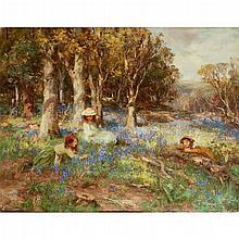 WILLIAM STEWART MACGEORGE R.S.A. (SCOTTISH 1861-1931) BLUE HAZE OF THE HYACINTH 71cm x 91cm (28in x 36in)
